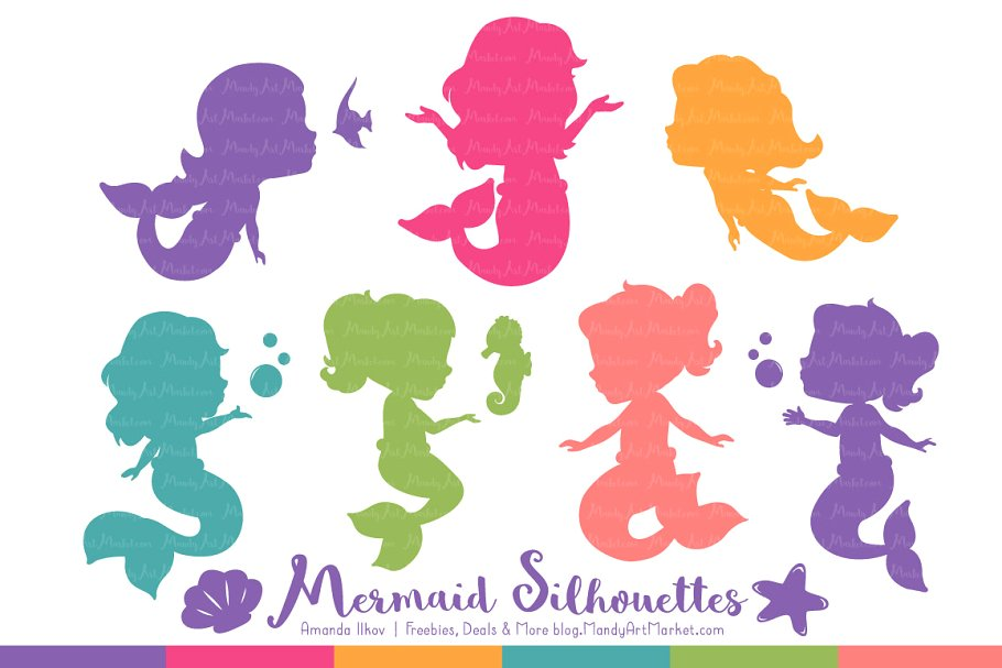 Crayon Box Girl Mermaid Clipart.