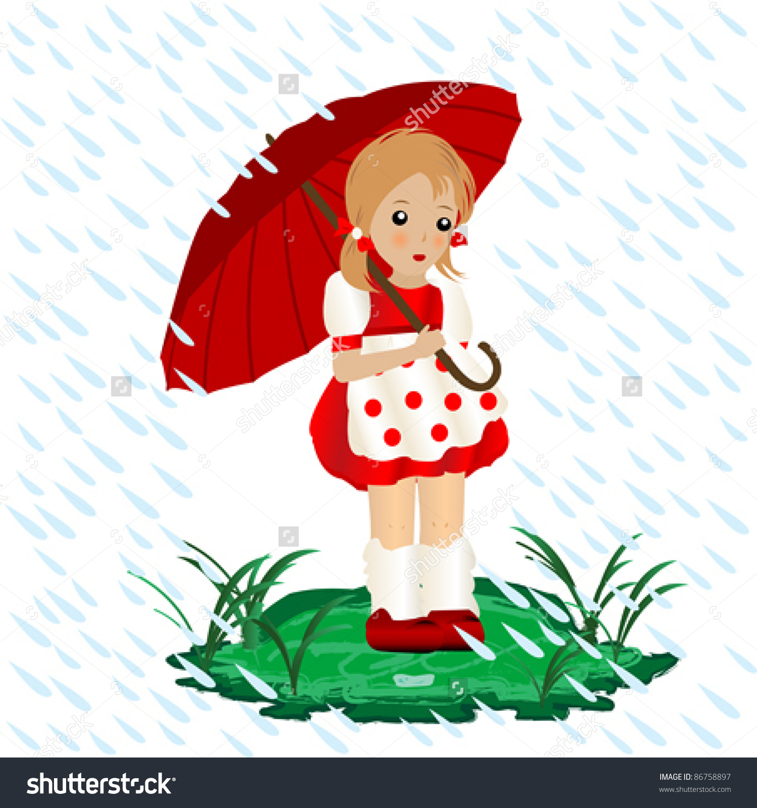 A Little Girl In The Rain With An Umbrella Illustration.