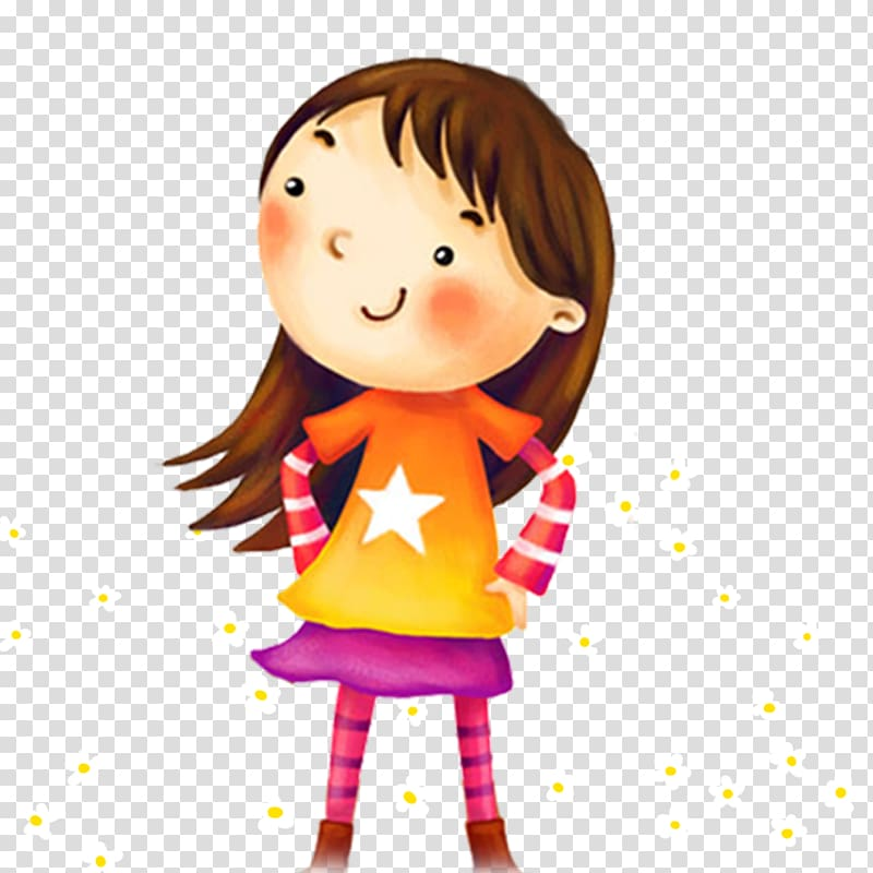 Cartoon, little girl transparent background PNG clipart.