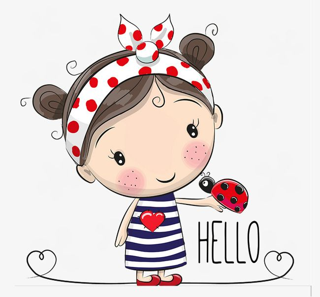 Cartoon Little Girl, Cartoon Clipart, Ladybug, Girl PNG.