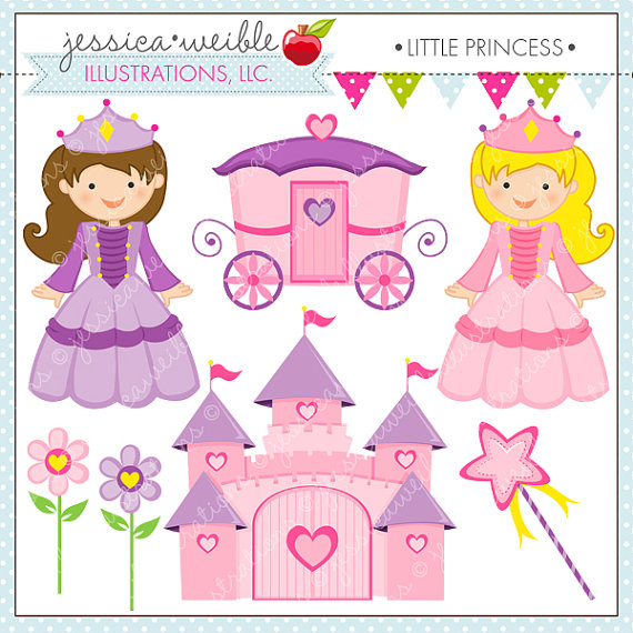 Little Princess Cute Digital Clipart for Commercial or Personal.