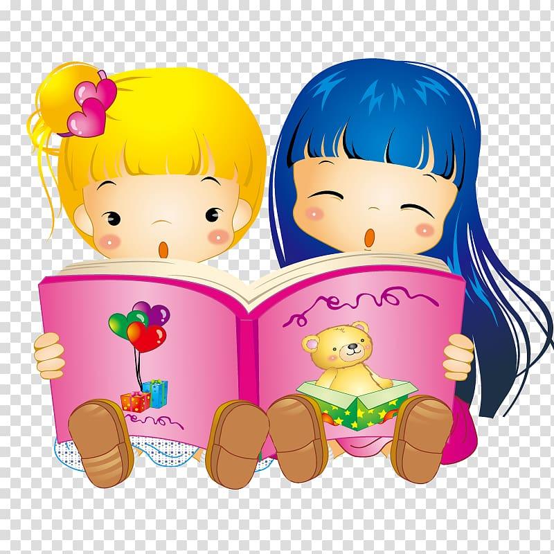 Two girl reading book , Child Cartoon , Little girls reading.