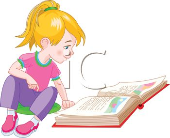 Royalty Free Clip Art Image: Cute Little Girl Reading a Storybook.