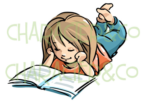 Little Girl Reading Clipart.