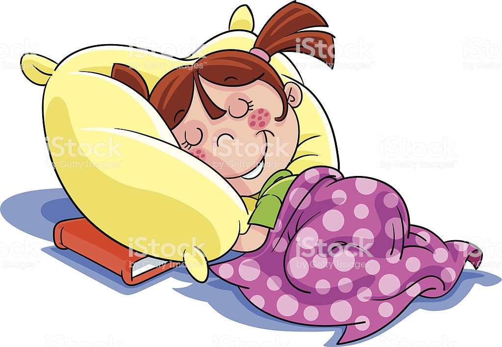 Cartoon Illustration Of A Little Girl Sleeping With Book.