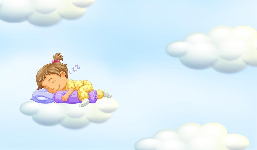 Little girl sleeping on floating cloud.