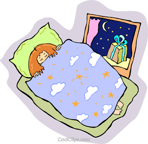 Little girl sleeping with present Royalty Free Vector Clip.