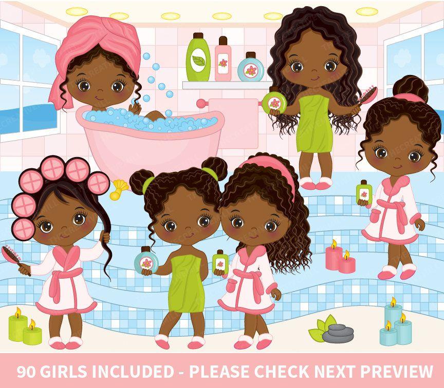 90 Little Spa Girls Clipart.