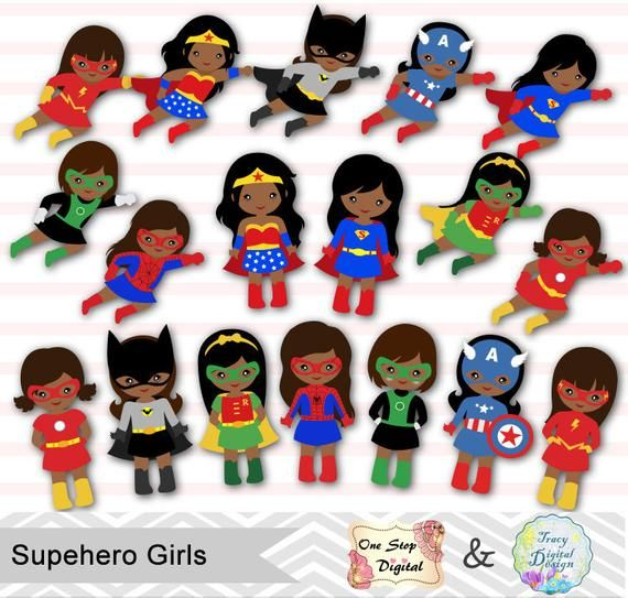 27 African American Little Girl Superhero Digital Clip Art.