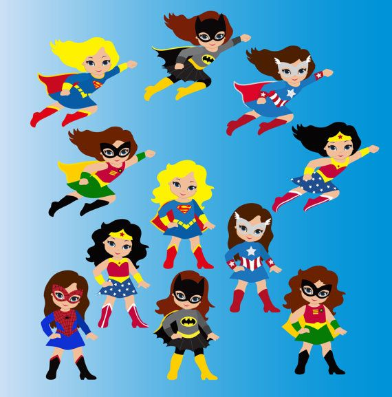 Girl Superhero Clip Art / Little Girls Superheroes.