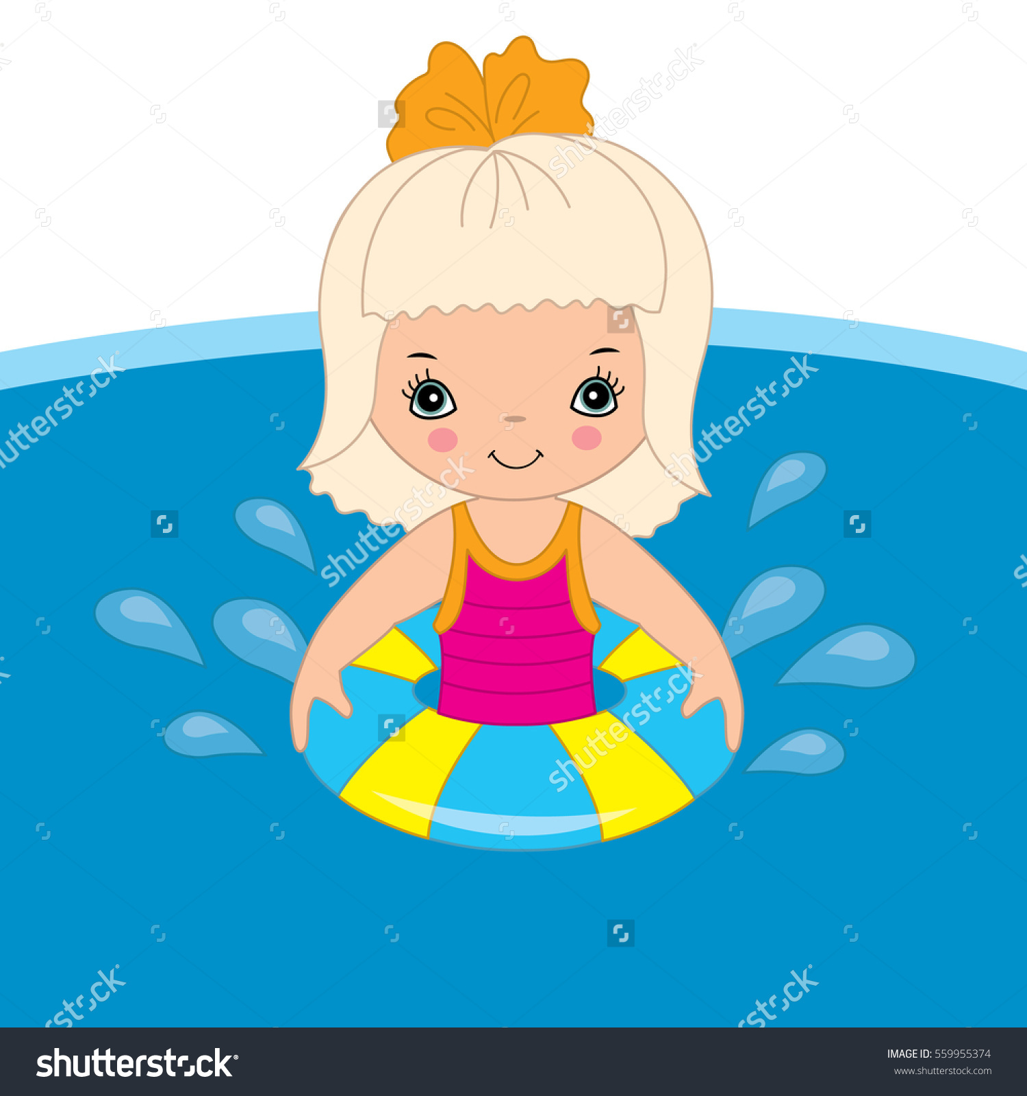 Vector Little Girl Swimming Pool Stock Vector 559955374.