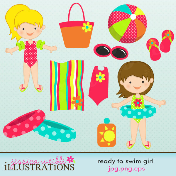Ready to Swim Girl Cute Digital Clipart for Card Design.