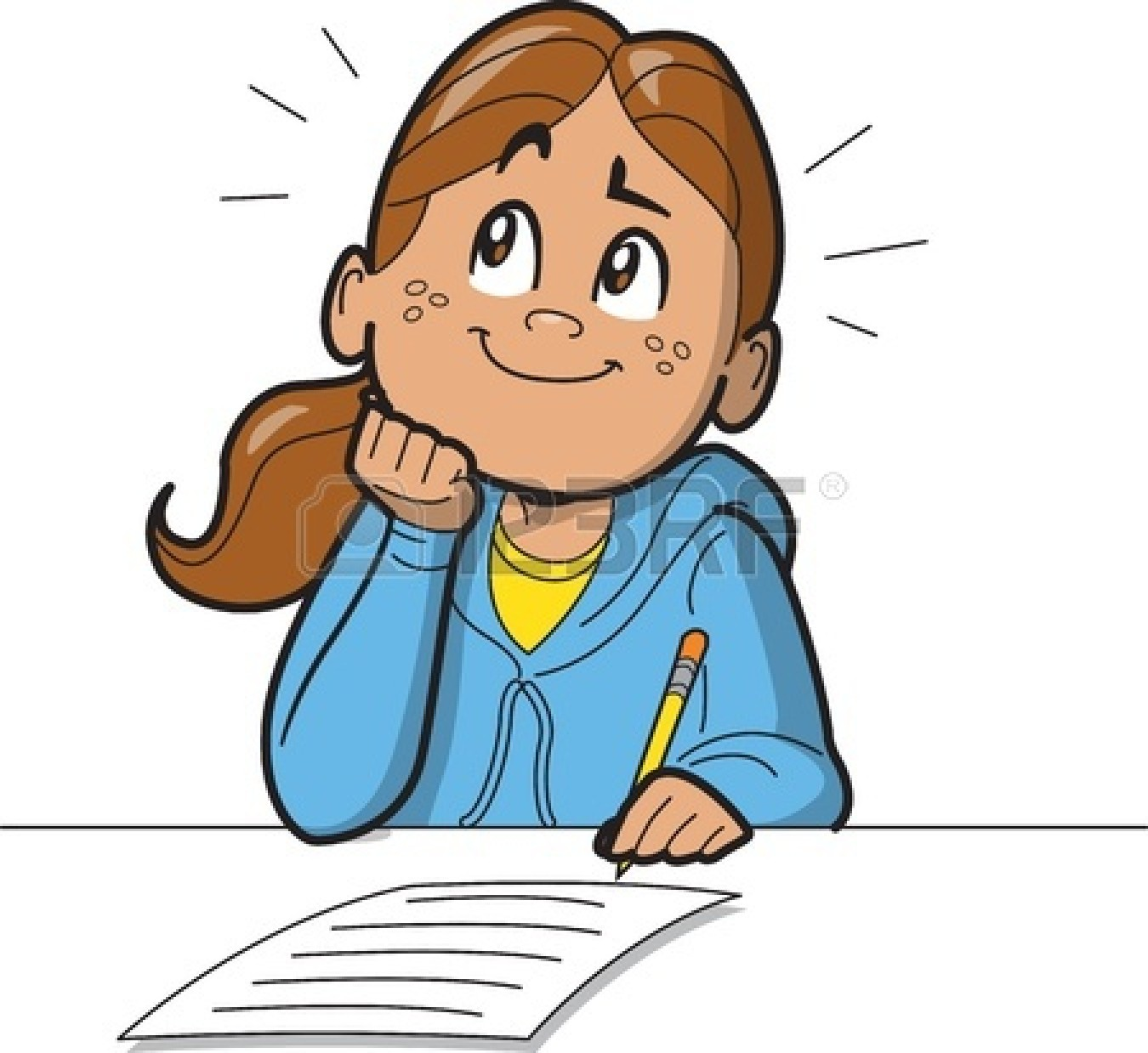 Girl Thinking Clipart.