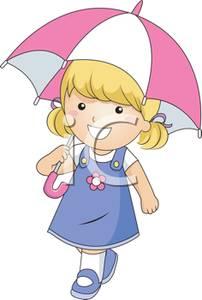 A Little Girl Walking with an Umbrella.