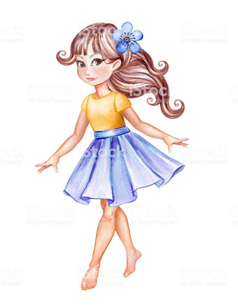 watercolor illustration, cute little girl in blue skirt.
