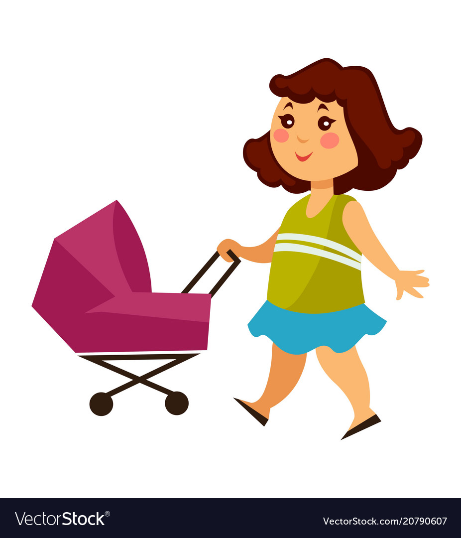 Little girl walks with baby carriage for dolls.