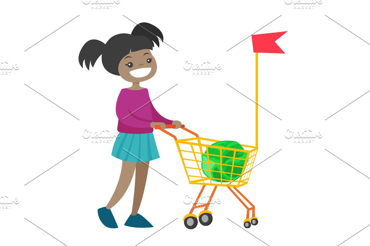 Little african girl walking with shopping cart..