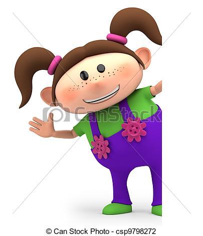 Clip Art of girl waving.
