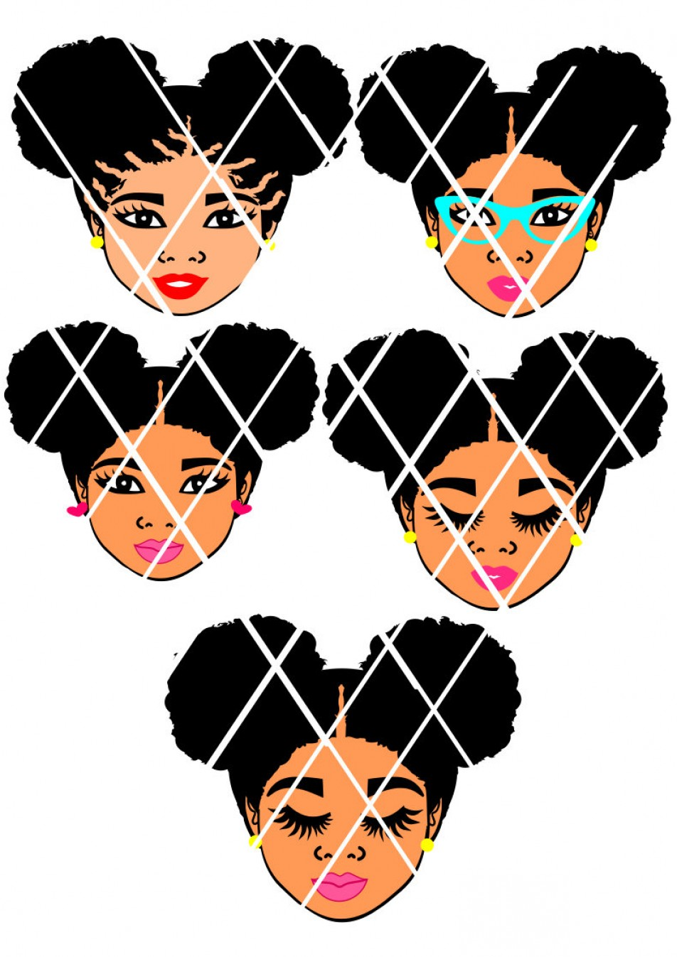 Afro Puff Silhouette Vector.