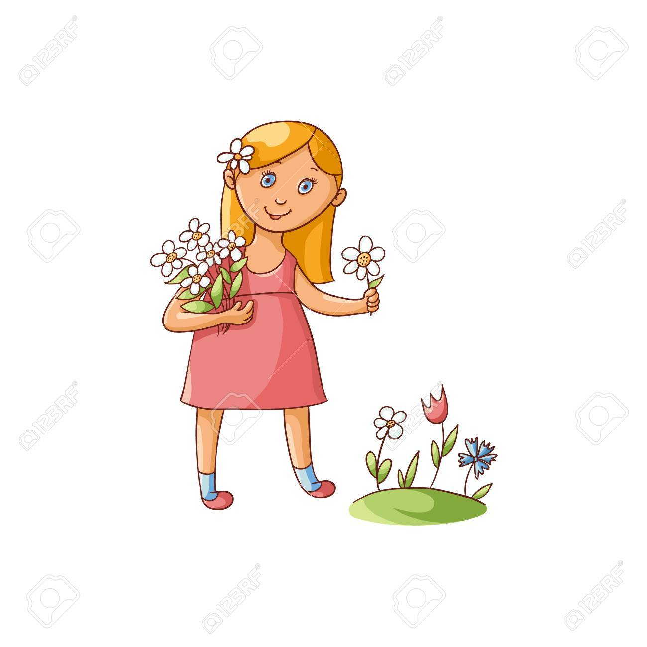 Cute little girl in summer dress picking flowers on the field,...