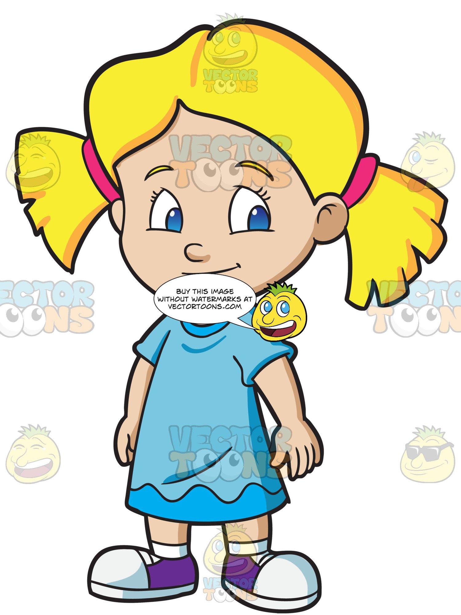 An Adorable Preschool Girl In Pigtails.