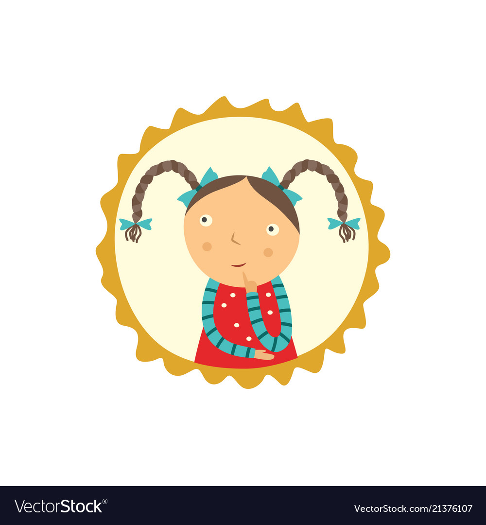 Cute curious little girl with pigtails hairstyles.