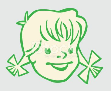 Little Girl With Pigtails Clipart Image.