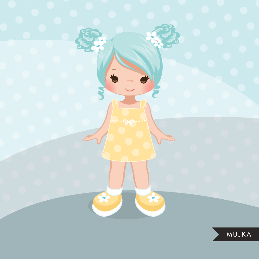 Little girl clipart graphics pigtail.