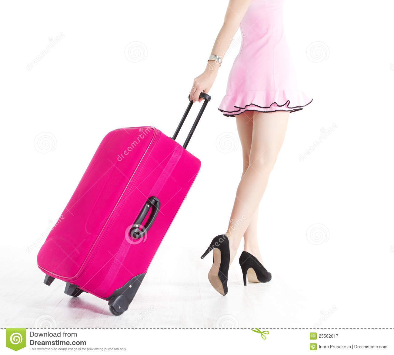 Girl Pulling Suitcase Clipart.