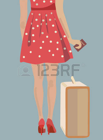 Little Girl With Suitcase College Bound Clipart.