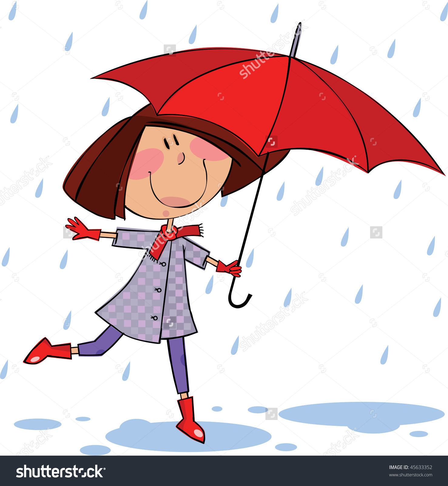 little girl playing in rain clipart clipground