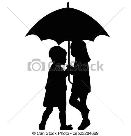 Clip Art Vector of Little girl under umbrella in raincoat standing.