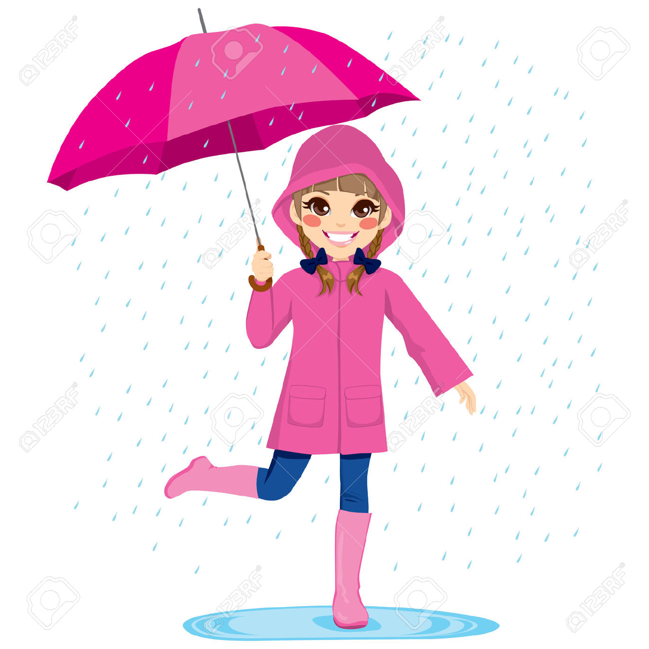 little girl with umbrella clipart - Clipground