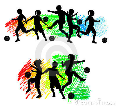 Soccer Silhouettes Kids Boys And Girls Royalty Free Stock Photos.