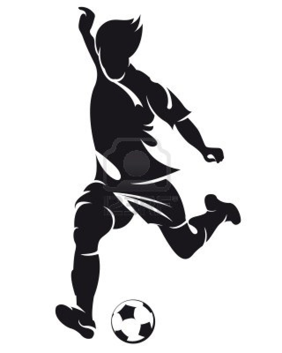 vector football (soccer) player running silhouette with ball.
