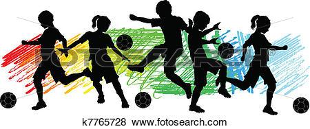 Clip Art of Kids Boys and Girls Soccer Silhouet k7765728.