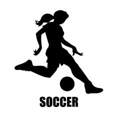 Girl Soccer Player Kicking Silhouette Sports Wall by danadecals.