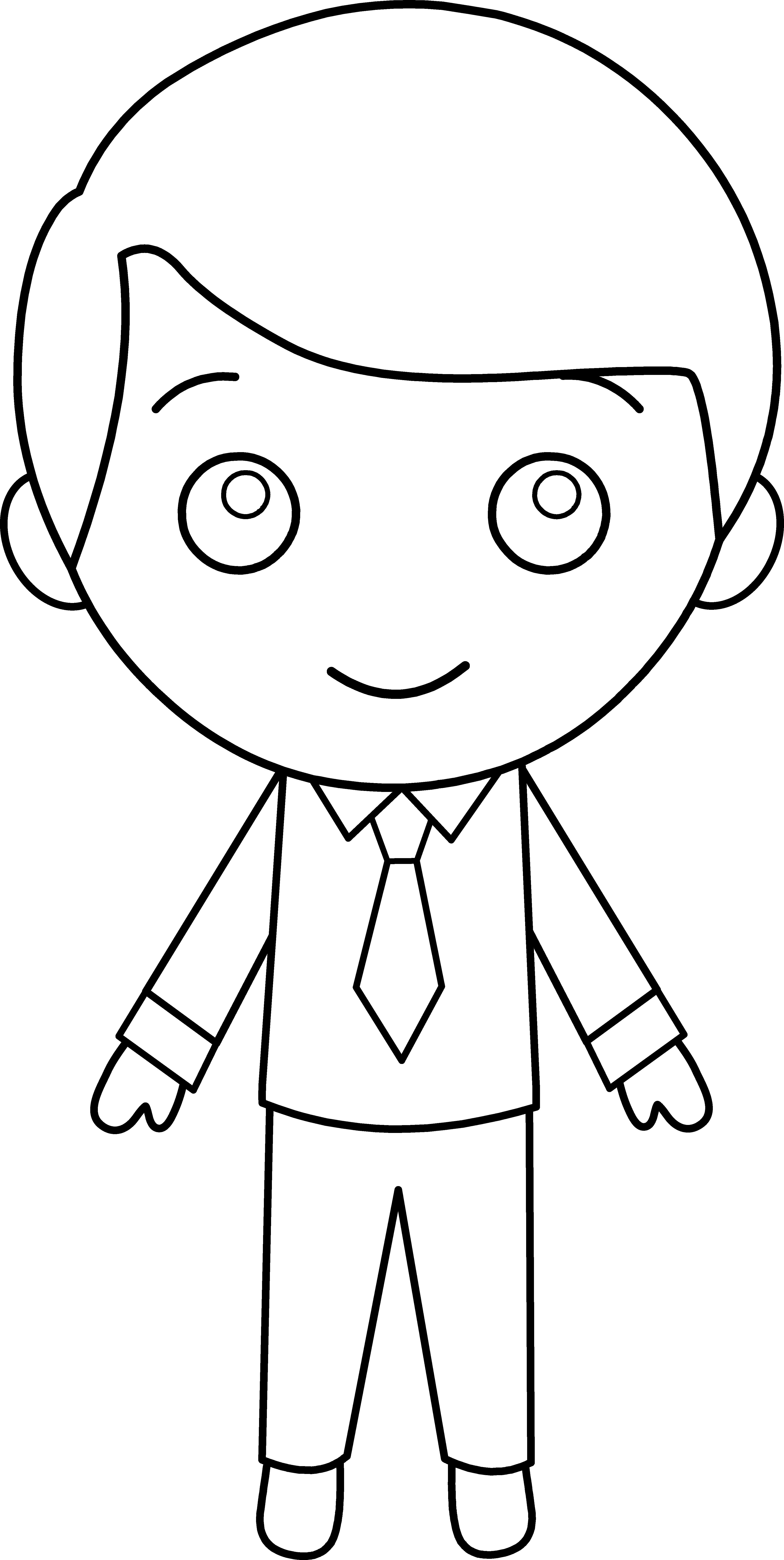 Little Guy in Suit Line Art.