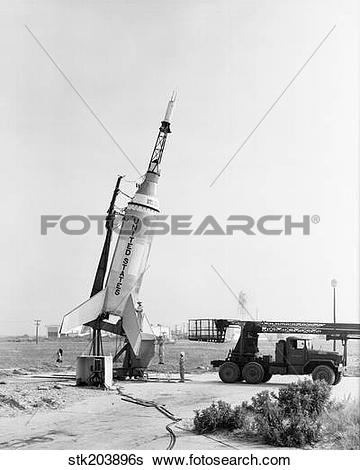 Stock Images of Little Joe on launcher at Wallops Island.