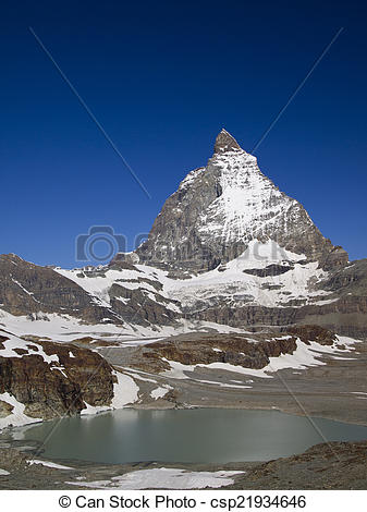 Stock Photo of Matterhorn the Switzerland symbol and a cute little.