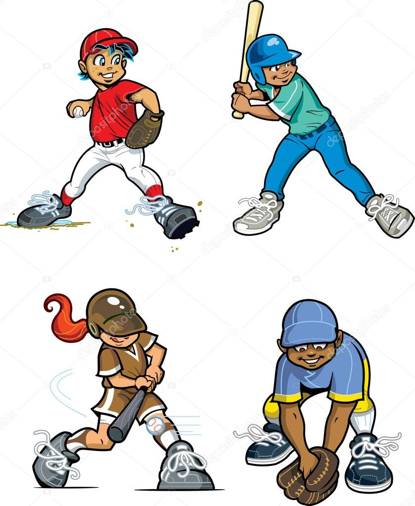 Baseball Little League Players — Stock Vector © KennyK #13341438.
