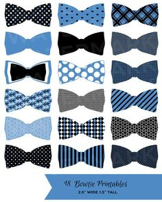 18 Black Blue and White Bowtie Printables: Tags / Labels / Cupcake.