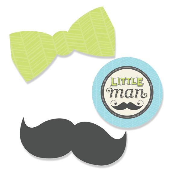 24 pc. Small Dashing Little Man Mustache Party Mustache and.