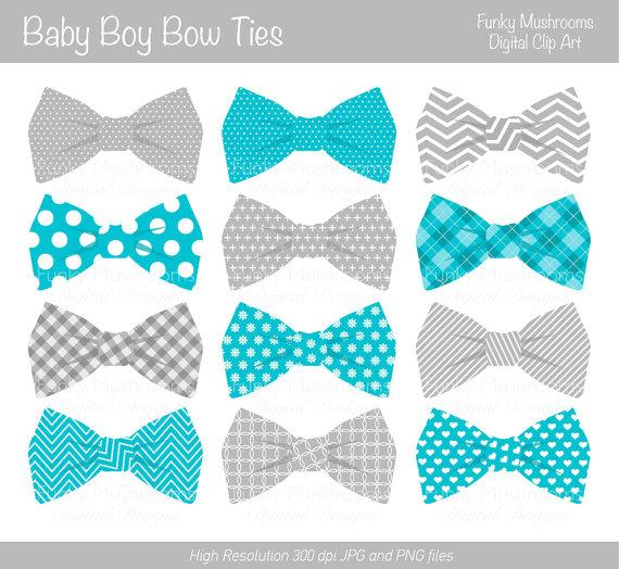 Digital clipart Bow Ties baby boy grey blue by funkymushrooms.