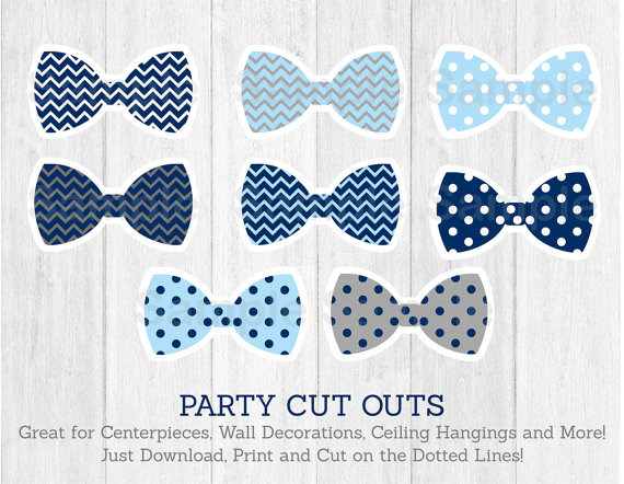 Bow Tie Cut Outs / Little Man Baby Shower / Chevron Bow Tie /.