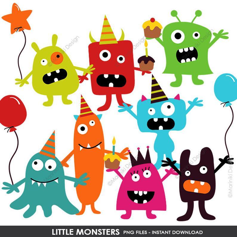 Little Monsters Clipart, Monster Bash Clip Art, Monster Images for Monster  Birthday Bash Invitations INSTANT DOWNLOAD CLIPARTS C52.