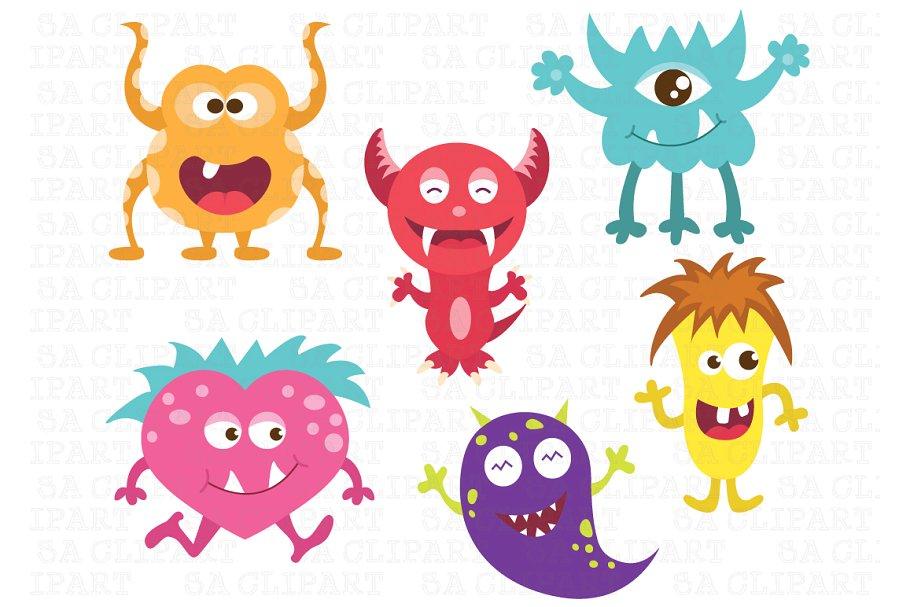 Cute Little Monsters Clipart.