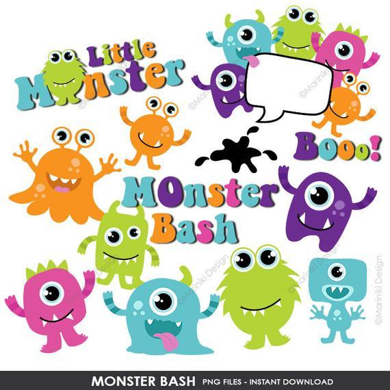Monsters Clipart, Monster Bash Clip Art, Little Monster Images for Monster  Birthday Bash Invitations INSTANT DOWNLOAD CLIPARTS C51.