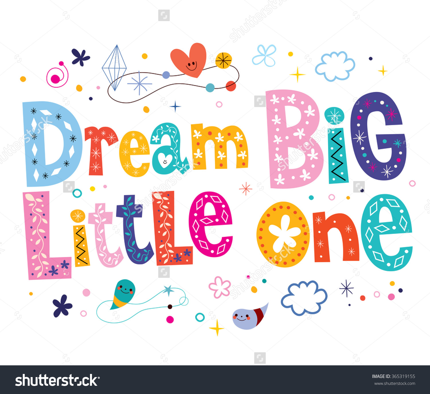 Dream Big Little One Nursery Art Stock Vector 365319155.