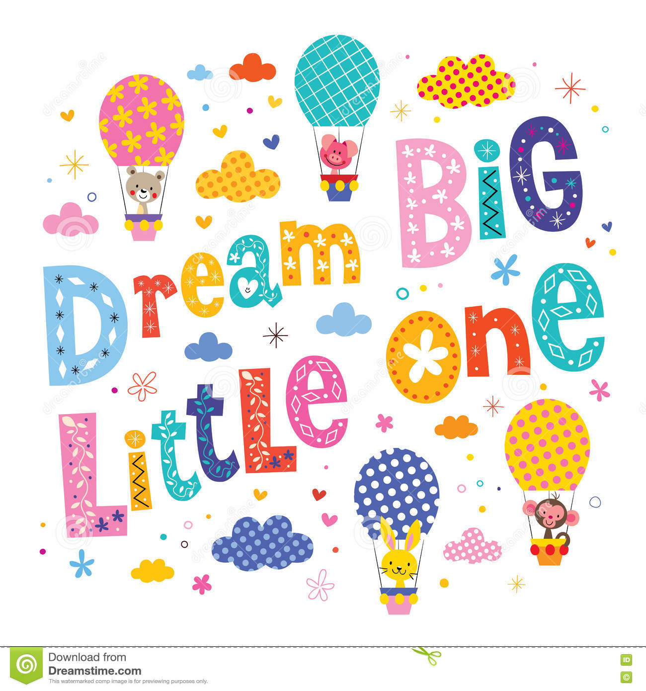 Dream Big Little One Kids Nursery Art Stock Photo.